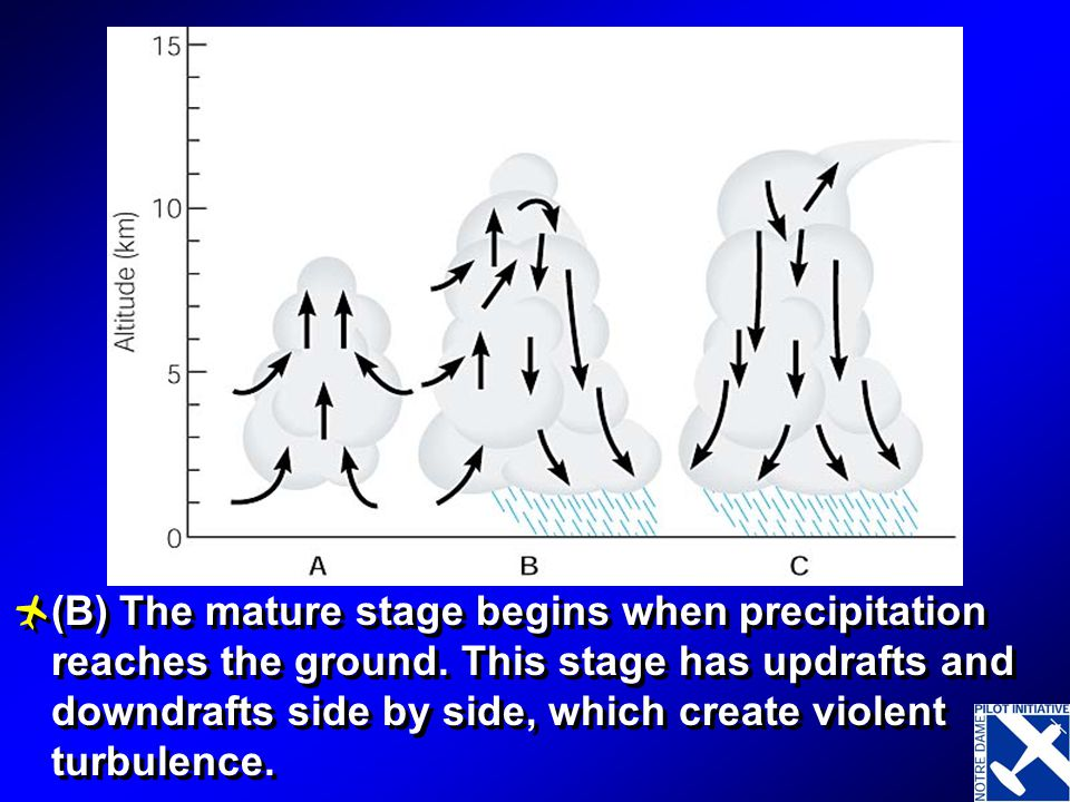 Three stages in the life of a thunderstorm cell. (A) The cumulus stage begins as warm, moist air is lifted in an unstable atmosphere. All the air move