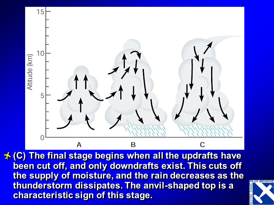 (B) The mature stage begins when precipitation reaches the ground. This stage has updrafts and downdrafts side by side, which create violent turbulenc
