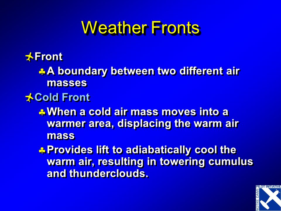 Boundaries between air masses = fronts Cold Warm Stationary Occluded Cold Warm Stationary Occluded Types of Fronts
