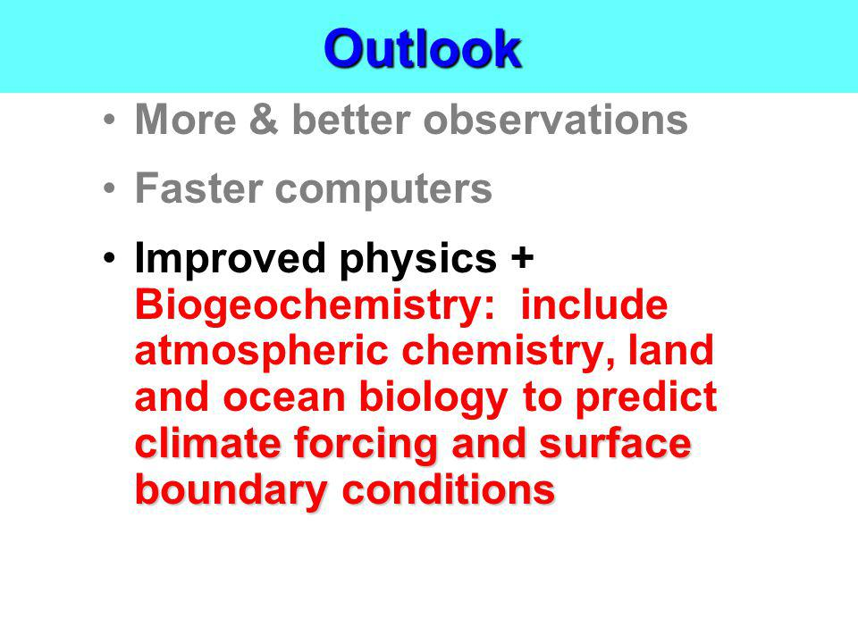 Outlook More & better observations Faster computers climate forcing and surface boundary conditionsImproved physics + Biogeochemistry: include atmosph