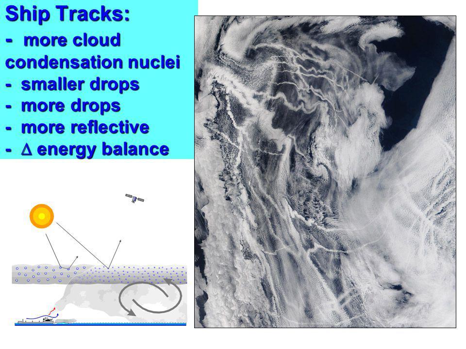 Ship Tracks: - more cloud condensation nuclei - smaller drops - more drops - more reflective - energy balance