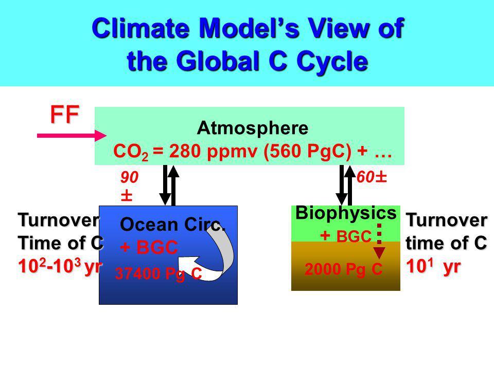 Climate Models View of the Global C Cycle Biophysics + BGC Atmosphere CO 2 = 280 ppmv (560 PgC) + … Ocean Circ. + BGC 37400 Pg C 2000 Pg C 90 ± 60± Tu