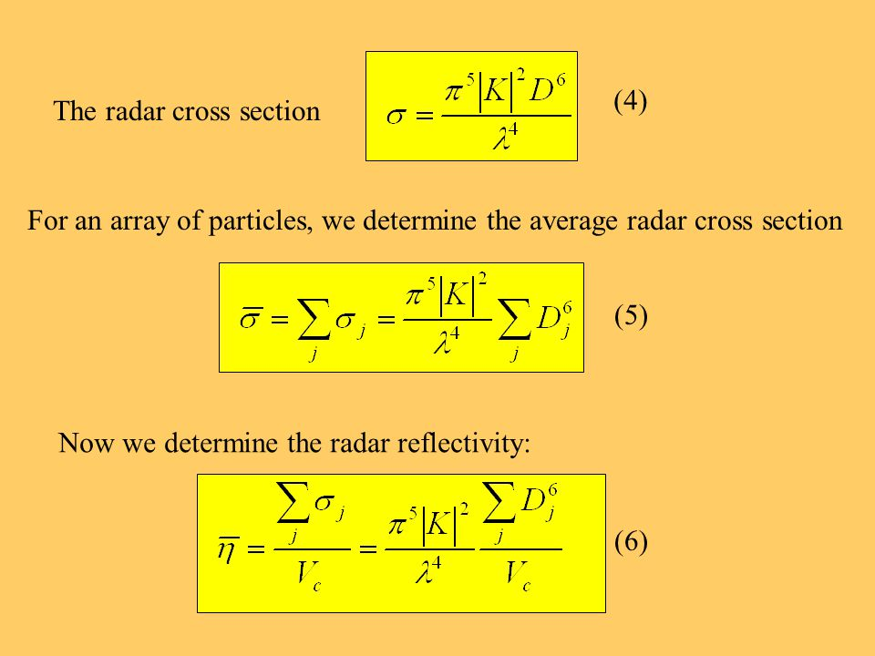 (4) The radar cross section For an array of particles, we determine the average radar cross section (5) Now we determine the radar reflectivity: (6)