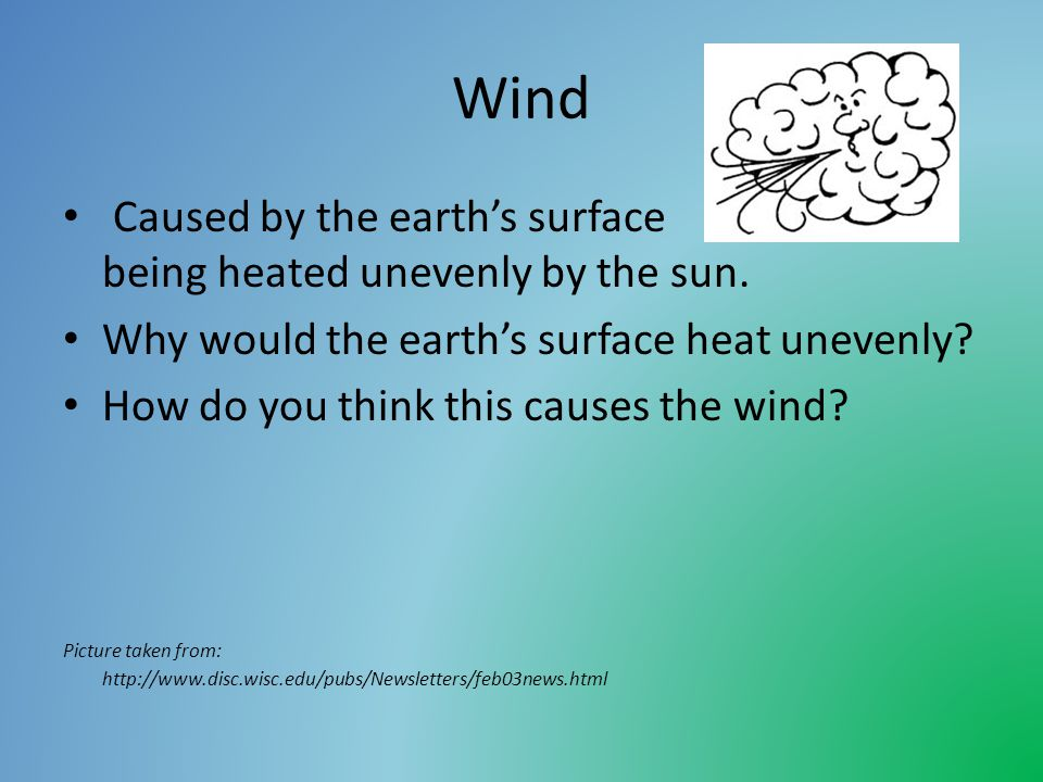 Wind Caused by the earths surface being heated unevenly by the sun.