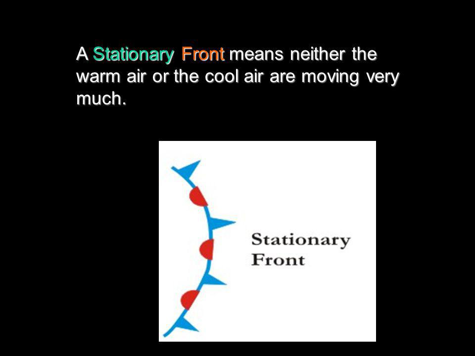A Stationary Front means neither the warm air or the cool air are moving very much.