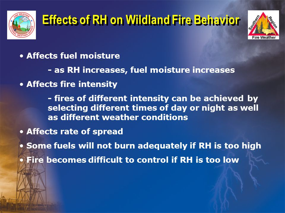 Affects fuel moisture - as RH increases, fuel moisture increases Affects fire intensity - fires of different intensity can be achieved by selecting different times of day or night as well as different weather conditions Affects rate of spread Some fuels will not burn adequately if RH is too high Fire becomes difficult to control if RH is too low Effects of RH on Wildland Fire Behavior