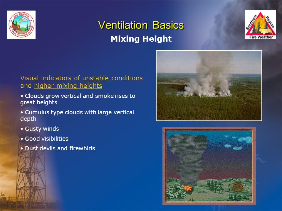 Ventilation Basics Mixing Height Visual indicators of unstable conditions and higher mixing heights Clouds grow vertical and smoke rises to great heights Cumulus type clouds with large vertical depth Gusty winds Good visibilities Dust devils and firewhirls