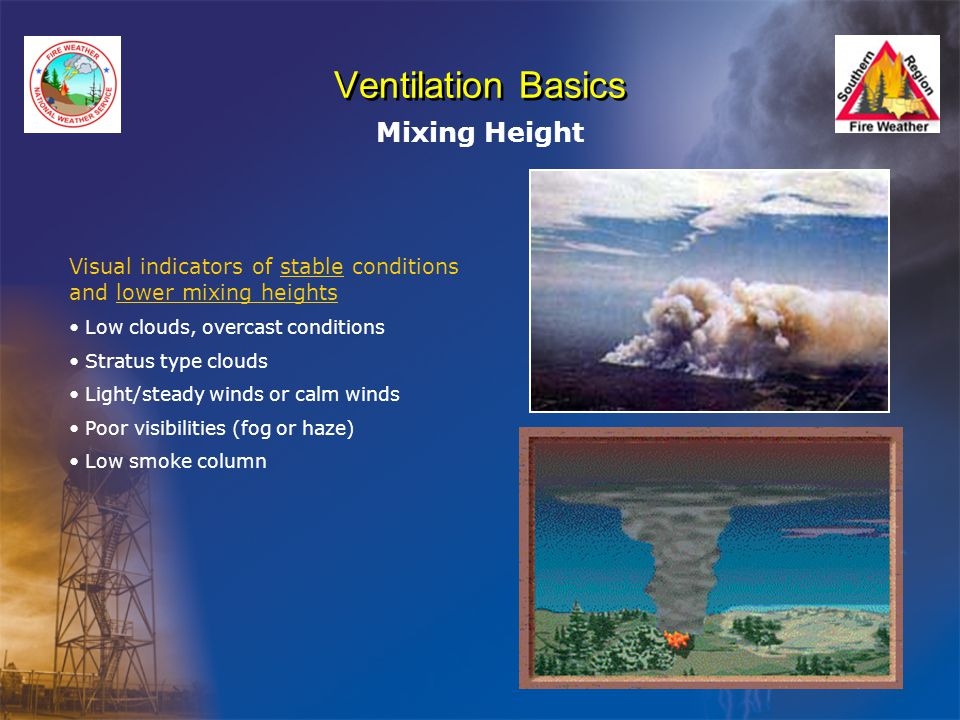 Ventilation Basics Mixing Height Visual indicators of stable conditions and lower mixing heights Low clouds, overcast conditions Stratus type clouds Light/steady winds or calm winds Poor visibilities (fog or haze) Low smoke column