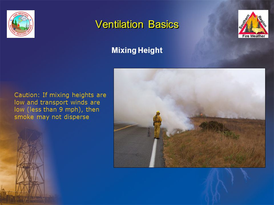 Ventilation Basics Mixing Height Caution: If mixing heights are low and transport winds are low (less than 9 mph), then smoke may not disperse