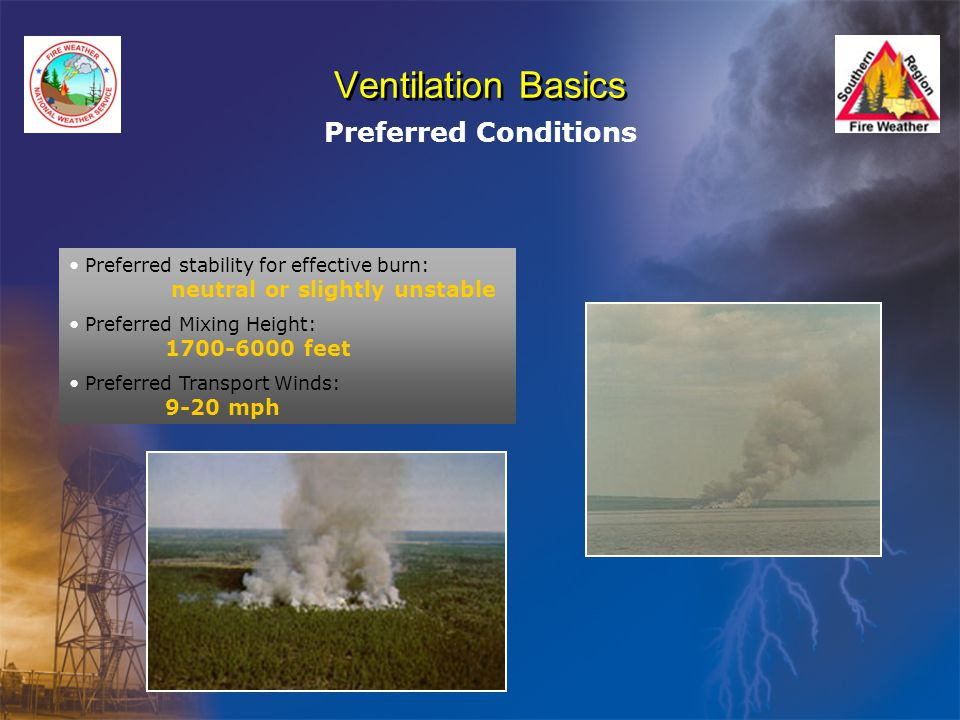 Ventilation Basics Preferred Conditions Preferred stability for effective burn: neutral or slightly unstable Preferred Mixing Height: 1700-6000 feet Preferred Transport Winds: 9-20 mph