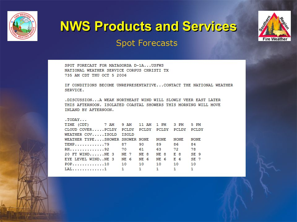 NWS Products and Services Spot Forecasts