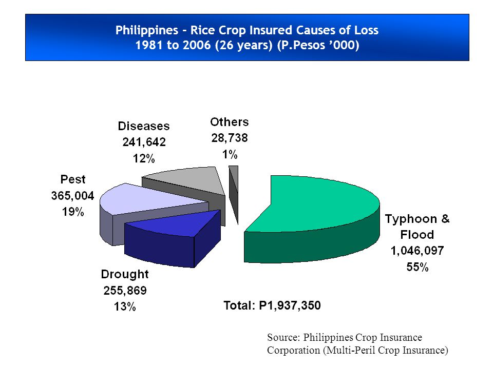 Philippines - Rice Crop Insured Causes of Loss 1981 to 2006 (26 years) (P.Pesos 000) Total: P1,937,350 Source: Philippines Crop Insurance Corporation