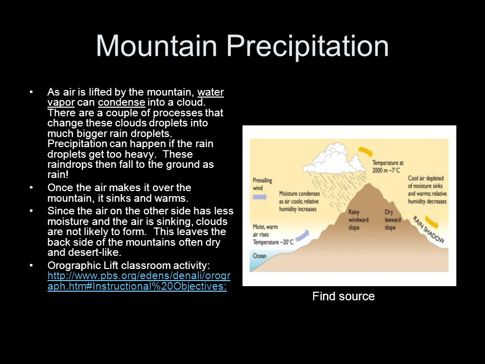 Mountain Precipitation As air is lifted by the mountain, water vapor can condense into a cloud. There are a couple of processes that change these clou