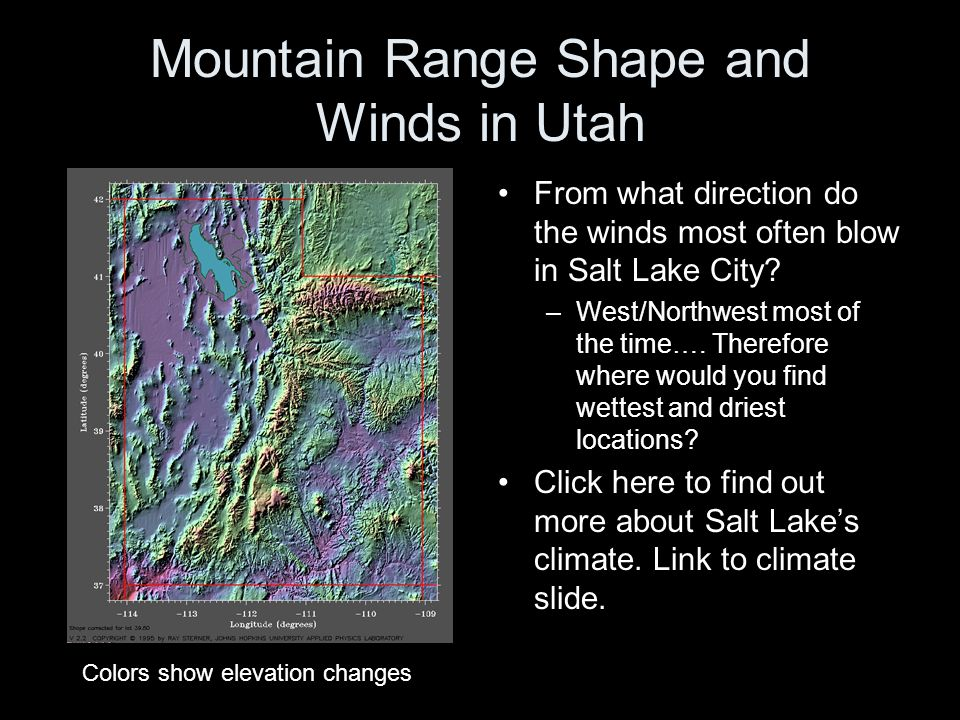 Mountain Range Shape and Winds in Utah From what direction do the winds most often blow in Salt Lake City? –West/Northwest most of the time…. Therefor