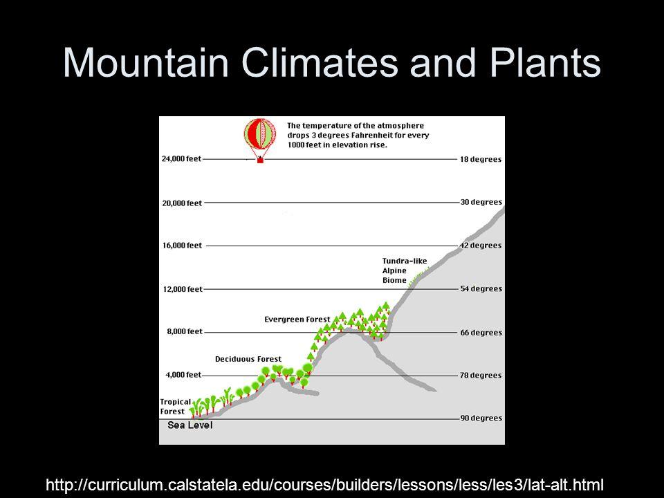 Mountain Climates and Plants http://curriculum.calstatela.edu/courses/builders/lessons/less/les3/lat-alt.html