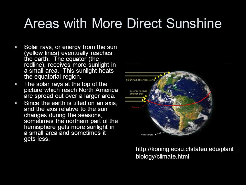 Areas with More Direct Sunshine Solar rays, or energy from the sun (yellow lines) eventually reaches the earth. The equator (the redline), receives mo