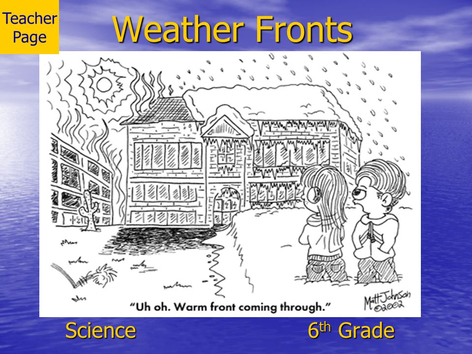 MAP TAP 2002-2003Weather Fronts2 Teacher Page Science Science 6 th Grade 6 th Grade Created by Paula Smith Created by Paula Smith VI.A.2, VI.B.2/SC 5 VI.A.2, VI.B.2/SC 5 This presentation is intended to introduce or review material.