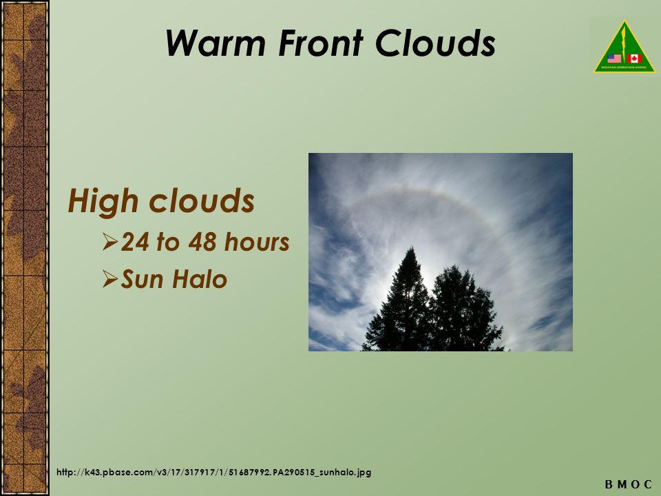 B M O C Warm Front Clouds High clouds 24 to 48 hours Sun Halo http://k43.pbase.com/v3/17/317917/1/51687992.PA290515_sunhalo.jpg