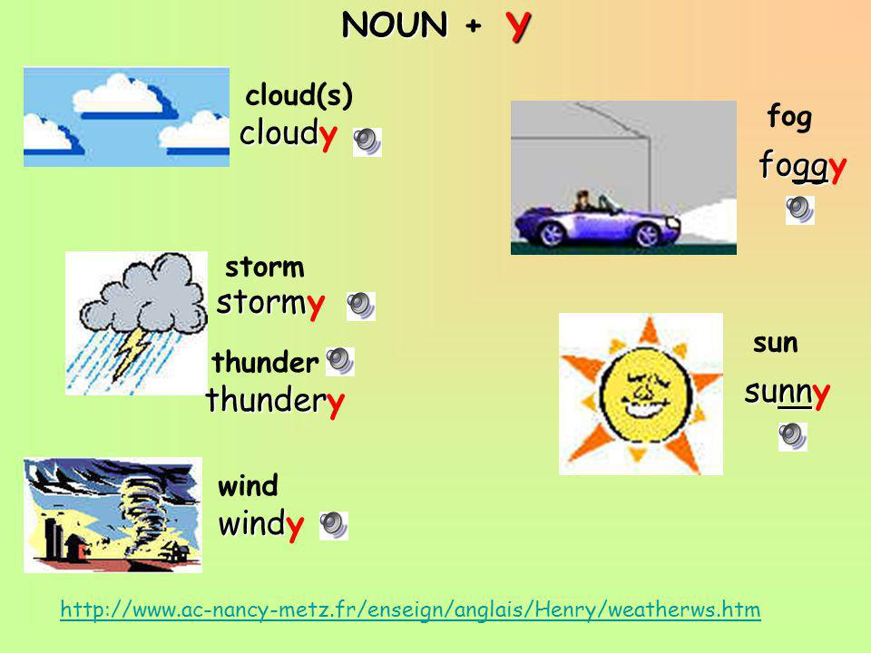 NOUN +Y http://www.ac-nancy-metz.fr/enseign/anglais/Henry/weatherws.htm fog sun cloud(s) storm wind thunder cloudy stormy thundery windy foggy sunny