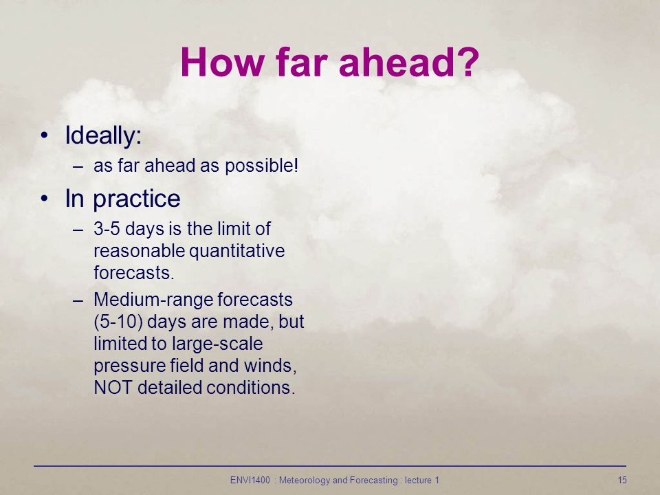 ENVI1400 : Meteorology and Forecasting : lecture 115 How far ahead.