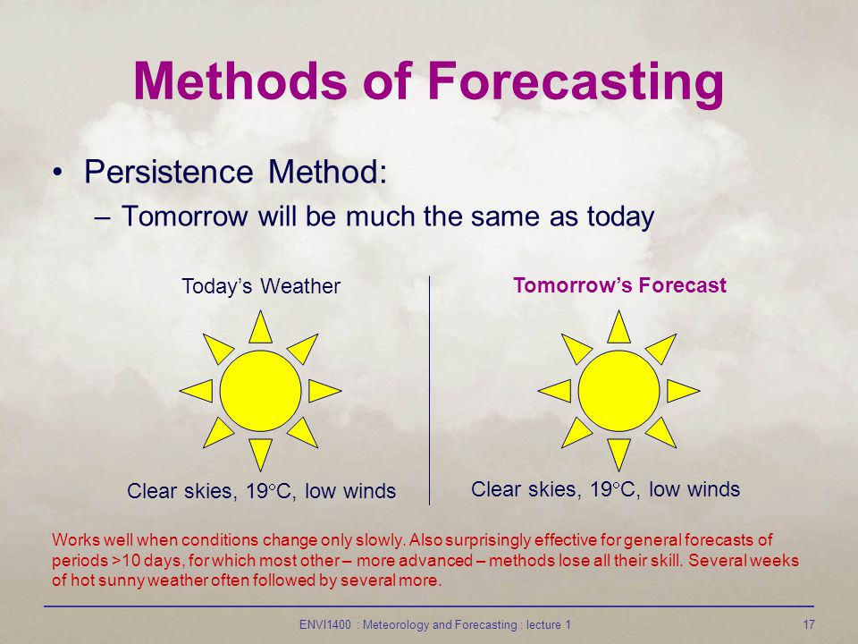 ENVI1400 : Meteorology and Forecasting : lecture 117 Methods of Forecasting Persistence Method: –Tomorrow will be much the same as today Todays Weather Tomorrows Forecast Clear skies, 19 C, low winds Works well when conditions change only slowly.