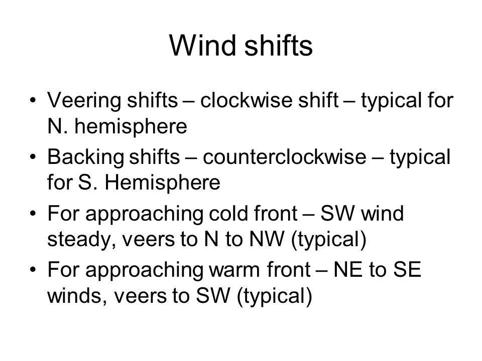 Wind shifts Veering shifts – clockwise shift – typical for N. hemisphere Backing shifts – counterclockwise – typical for S. Hemisphere For approaching