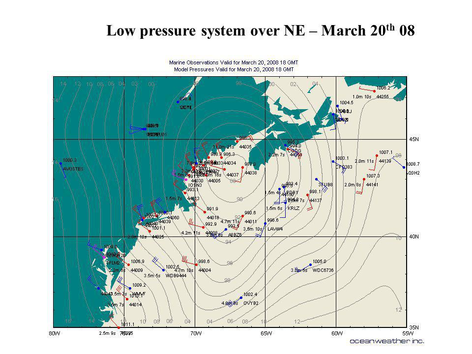 Low pressure system over NE – March 20 th 08