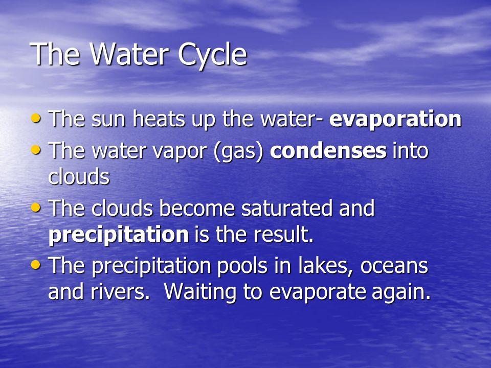 The sun heats up the water- evaporation The sun heats up the water- evaporation The water vapor (gas) condenses into clouds The water vapor (gas) cond