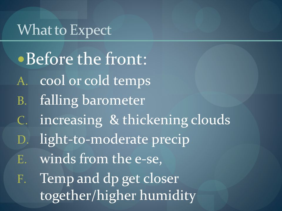 What to Expect Before the front: A.cool or cold temps B.