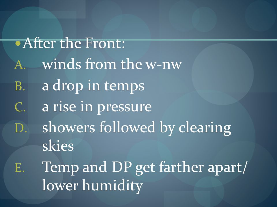 After the Front: A. winds from the w-nw B. a drop in temps C. a rise in pressure D. showers followed by clearing skies E. Temp and DP get farther apar