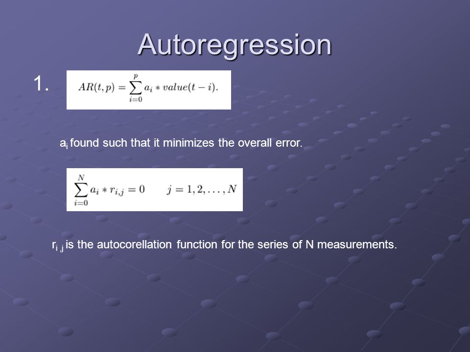 Autoregression 1. a i found such that it minimizes the overall error. r i,j is the autocorellation function for the series of N measurements.