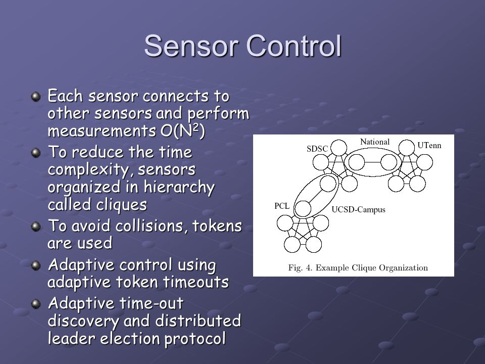 Sensor Control Each sensor connects to other sensors and perform measurements O(N 2 ) To reduce the time complexity, sensors organized in hierarchy ca
