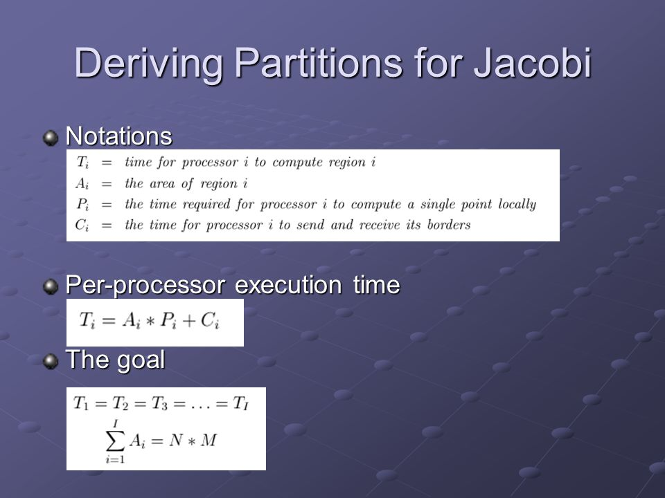 Deriving Partitions for Jacobi Notations Per-processor execution time The goal