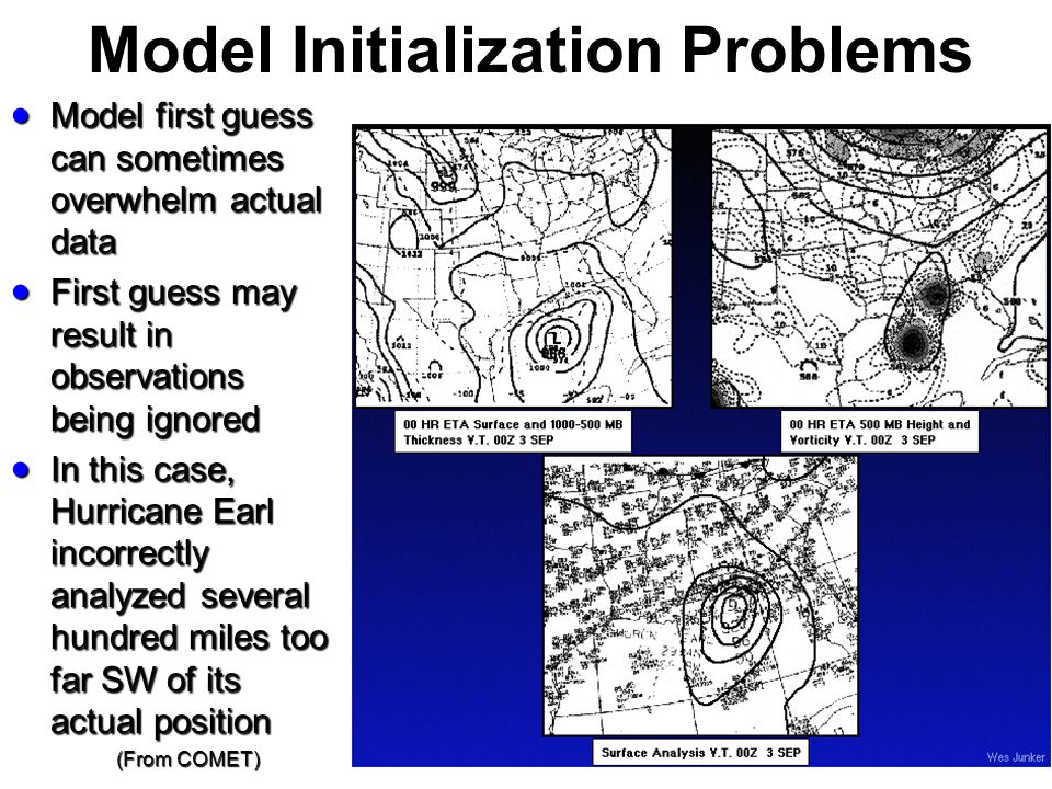 Model Initialization Problems Model first guess can sometimes overwhelm actual data Model first guess can sometimes overwhelm actual data First guess