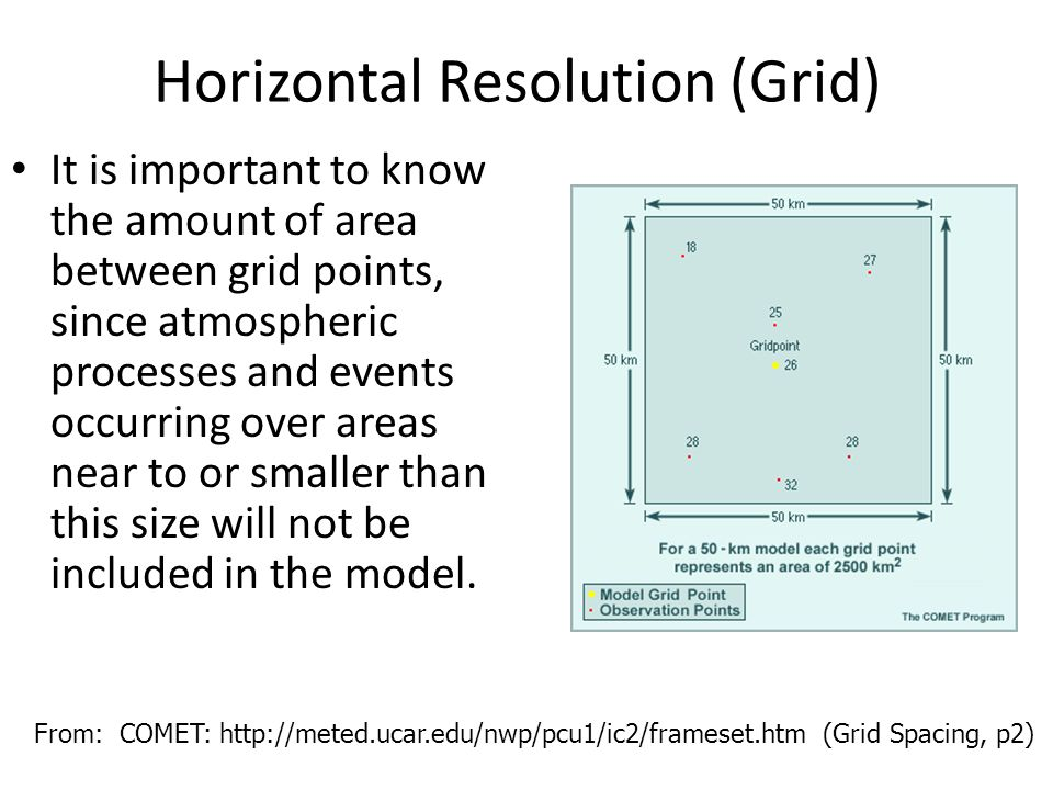 Horizontal Resolution (Grid) It is important to know the amount of area between grid points, since atmospheric processes and events occurring over are