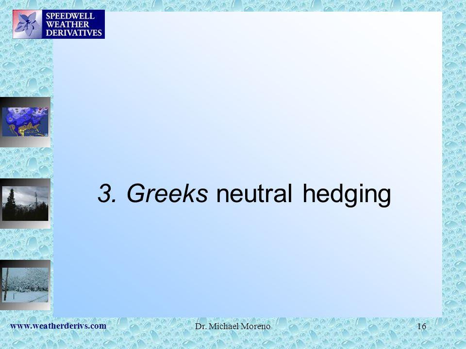 www.weatherderivs.com Dr. Michael Moreno16 3. Greeks neutral hedging