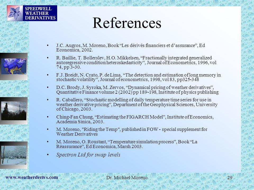 www.weatherderivs.com Dr. Michael Moreno29 References J.C. Augros, M. Moreno, Book Les dérivés financiers et dassurance, Ed Economica, 2002. R. Bailli