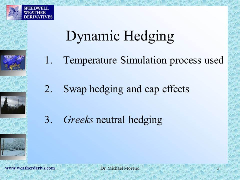 www.weatherderivs.com Dr. Michael Moreno3 Dynamic Hedging 1. Temperature Simulation process used 2. Swap hedging and cap effects 3. Greeks neutral hed