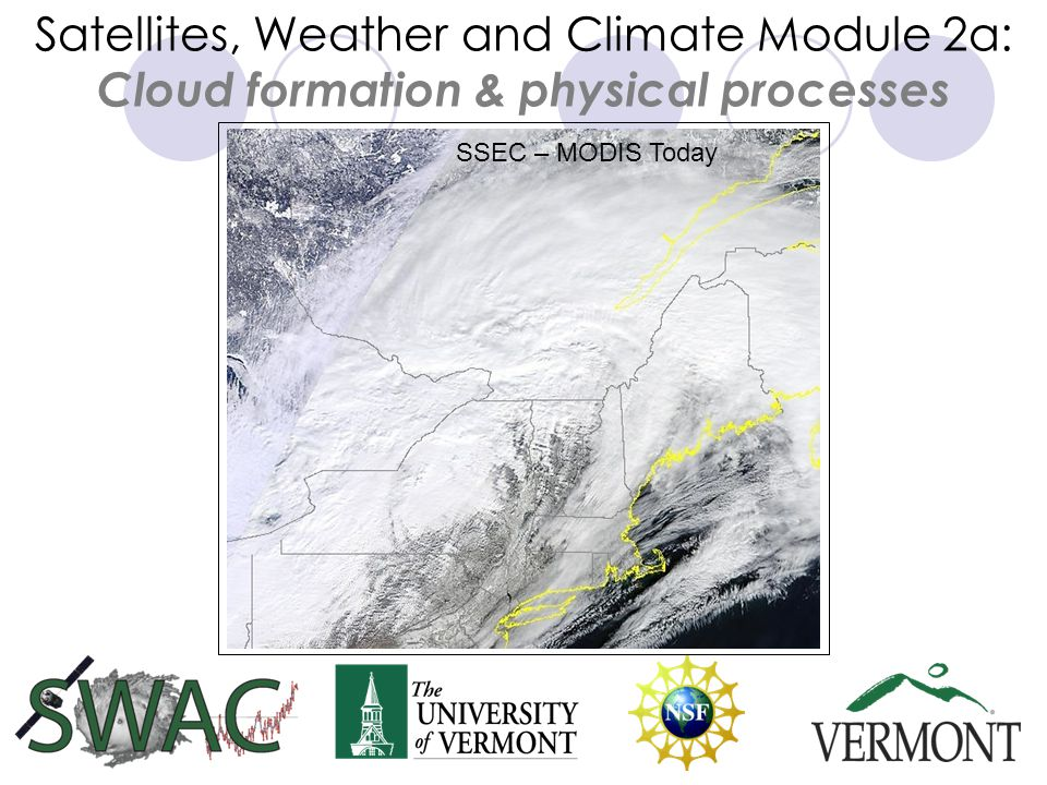 Satellites, Weather and Climate Module 2a: Cloud formation & physical processes SSEC – MODIS Today