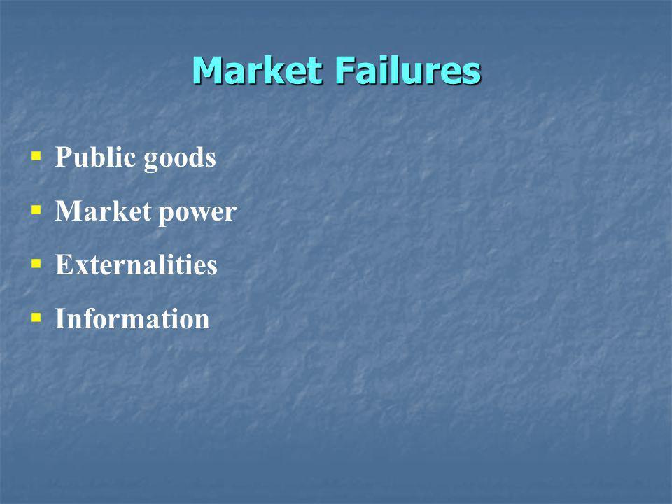 Market Failures Public goods Market power Externalities Information