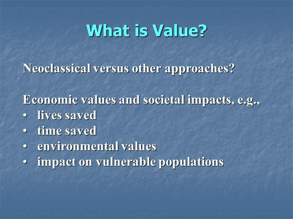What is Value.Neoclassical versus other approaches.