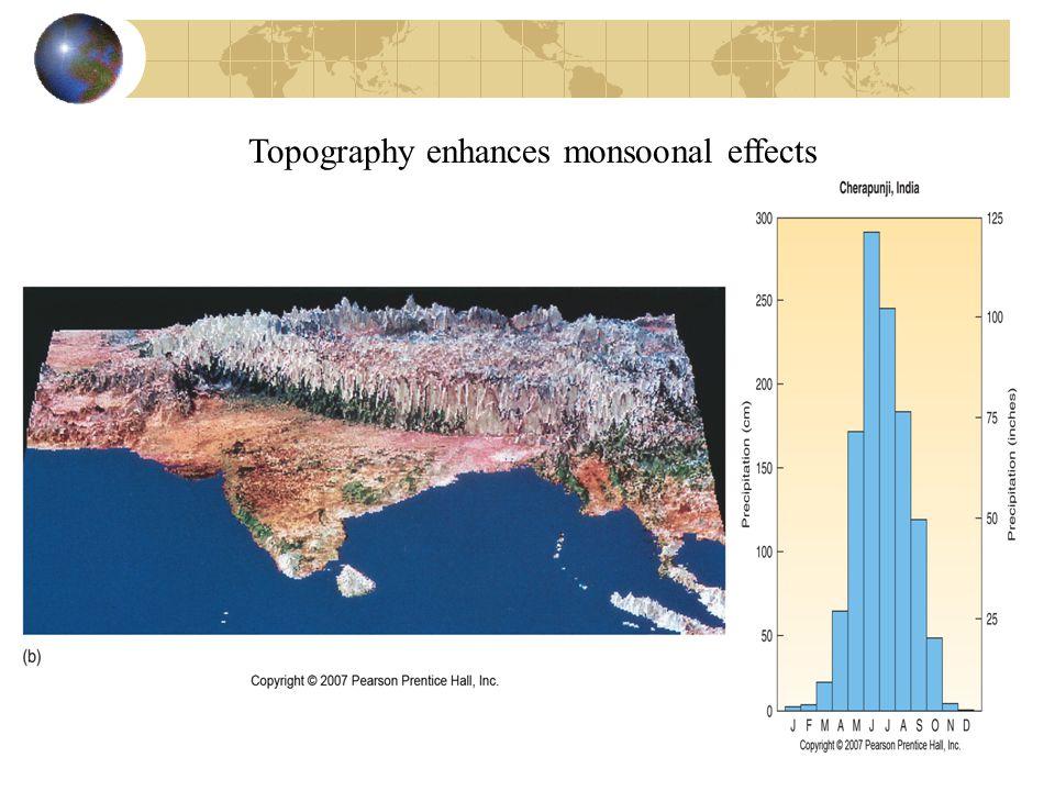 Topography enhances monsoonal effects