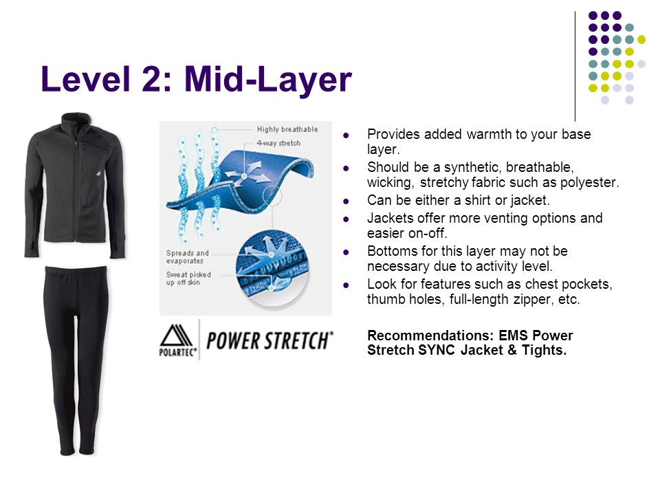 Level 2: Mid-Layer Provides added warmth to your base layer. Should be a synthetic, breathable, wicking, stretchy fabric such as polyester. Can be eit