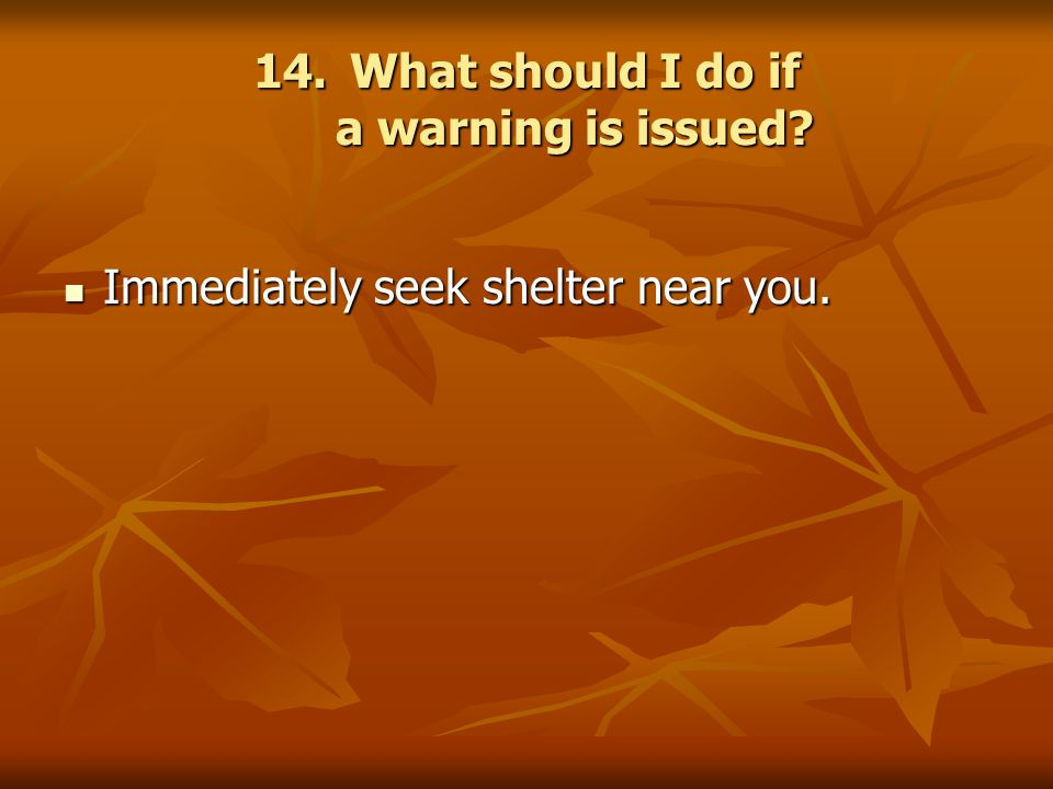 14.What should I do if a warning is issued. Immediately seek shelter near you.
