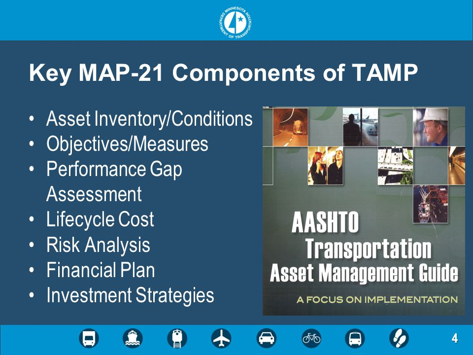 4 Key MAP-21 Components of TAMP Asset Inventory/Conditions Objectives/Measures Performance Gap Assessment Lifecycle Cost Risk Analysis Financial Plan