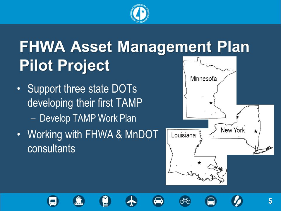 5 FHWA Asset Management Plan Pilot Project Support three state DOTs developing their first TAMP –Develop TAMP Work Plan Working with FHWA & MnDOT cons
