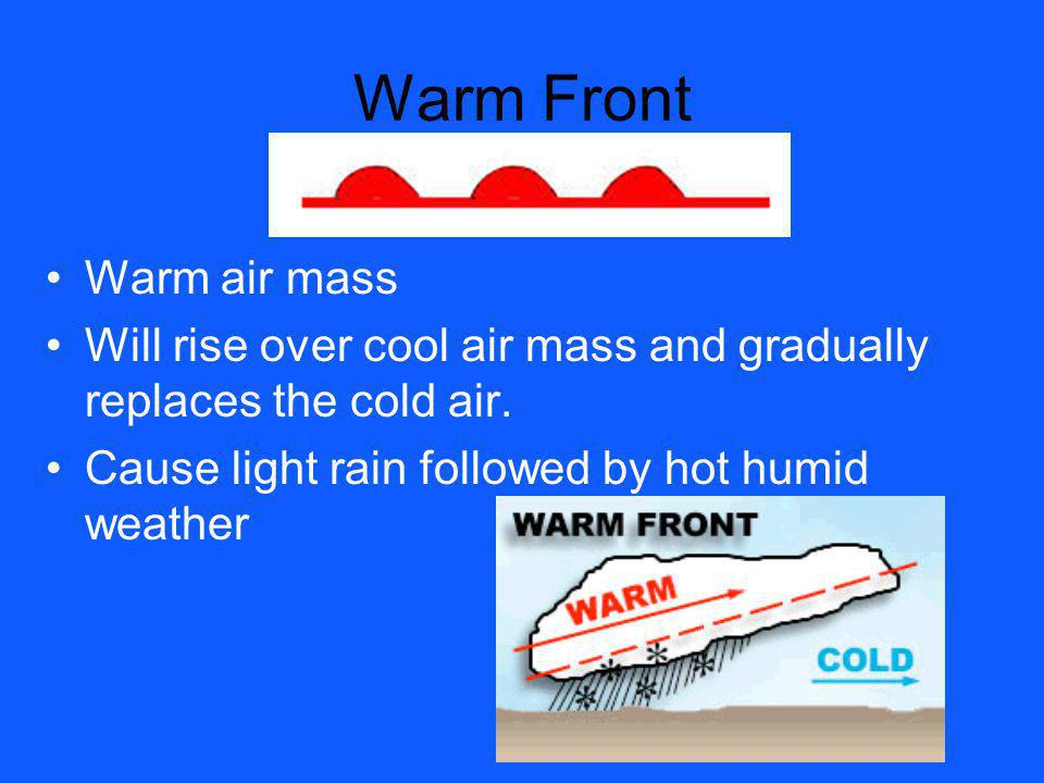 Warm Front Warm air mass Will rise over cool air mass and gradually replaces the cold air. Cause light rain followed by hot humid weather