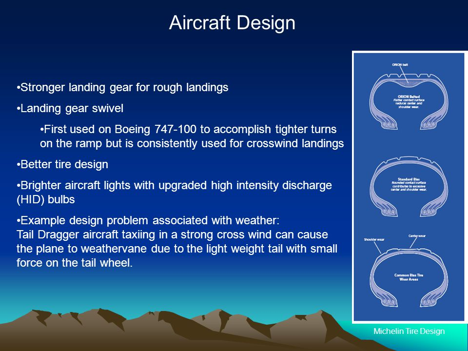 Stronger landing gear for rough landings Landing gear swivel First used on Boeing 747-100 to accomplish tighter turns on the ramp but is consistently