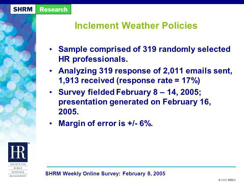 © 2005 SHRM SHRM Weekly Online Survey: February 8, 2005 Inclement Weather Policies Sample comprised of 319 randomly selected HR professionals. Analyzi