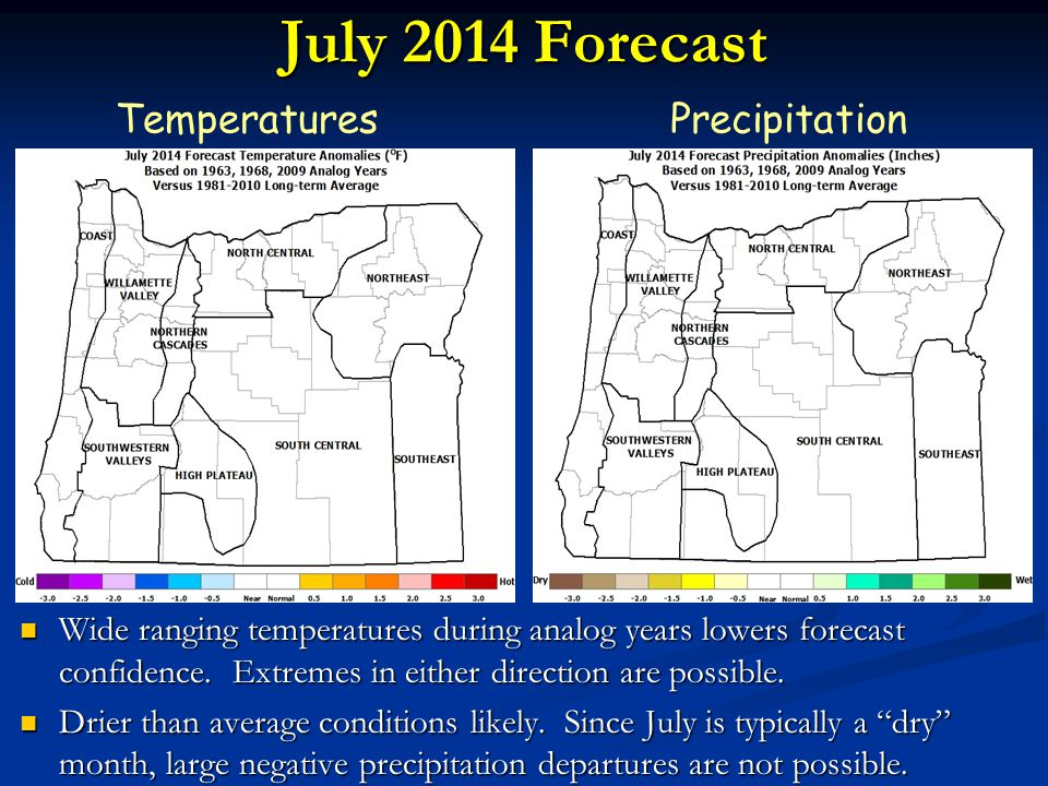 July 2014 Forecast TemperaturesPrecipitation Wide ranging temperatures during analog years lowers forecast confidence.